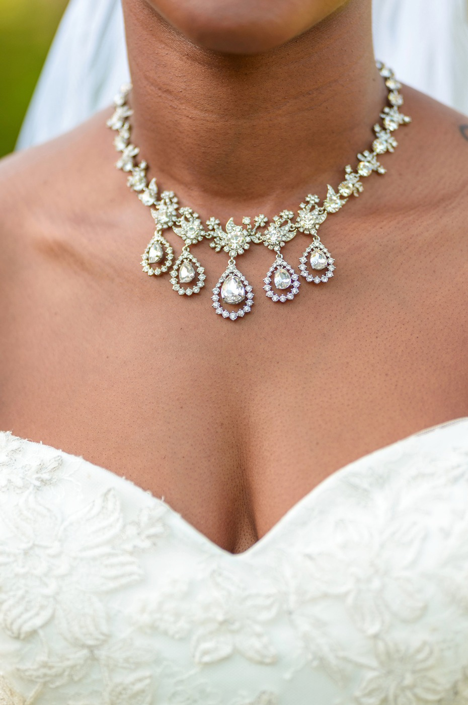 tear drop wedding necklace