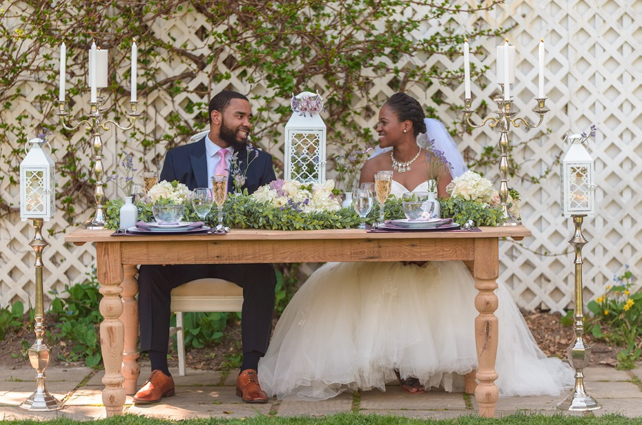 white garden wedding sweetheart table idea