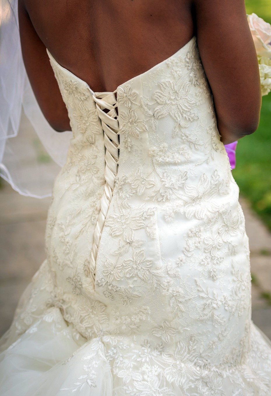 elegant back wedding dress