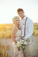 Lace And Gold Beach Wedding