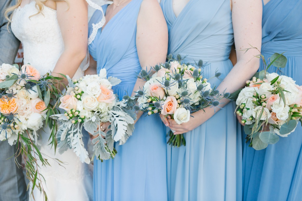 lovely bouquets ( with thistle!!!) complimented the soft blue bridesmaids dresses