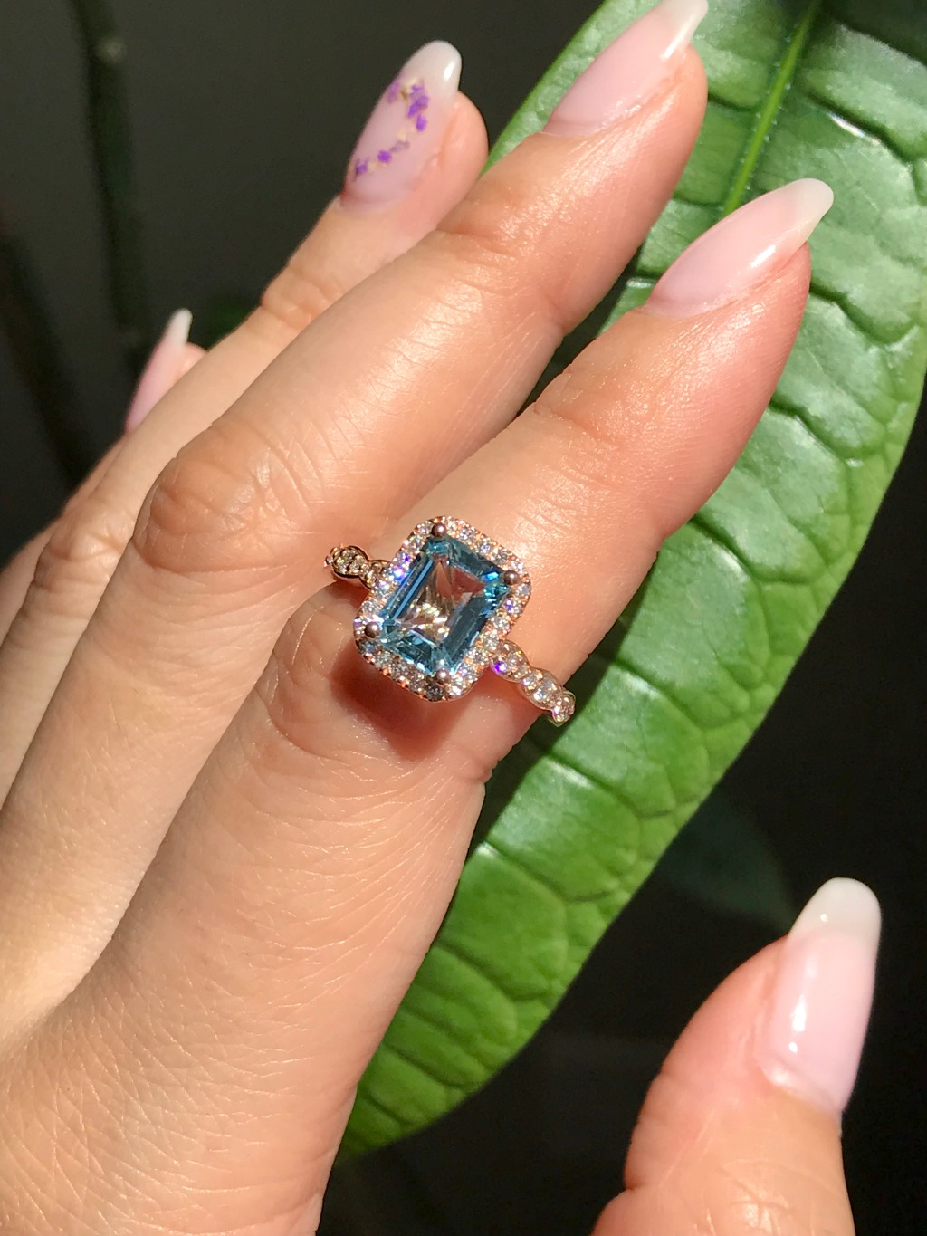 Our new collection of Emerald Cuts has a new blue addition! Scalloped Halo Emerald Cut Aquamarine Engagement Ring looks gorgeous basking