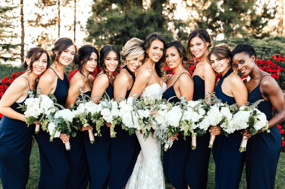 bridesmaid in navy with tan shoes