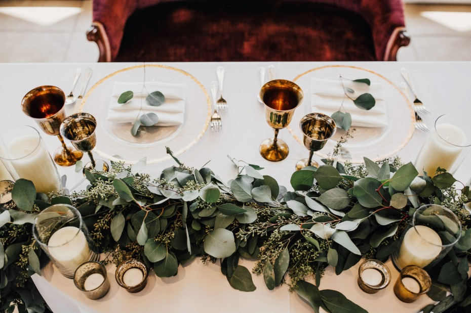 white, gold and eucalyptus wedding decor