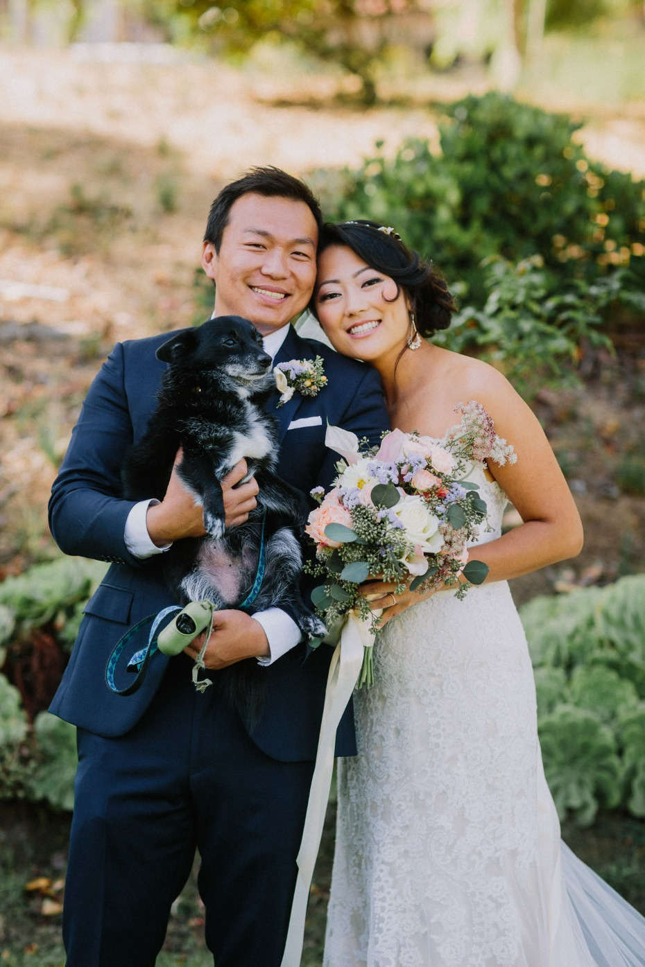 wedding couple and wedding dog