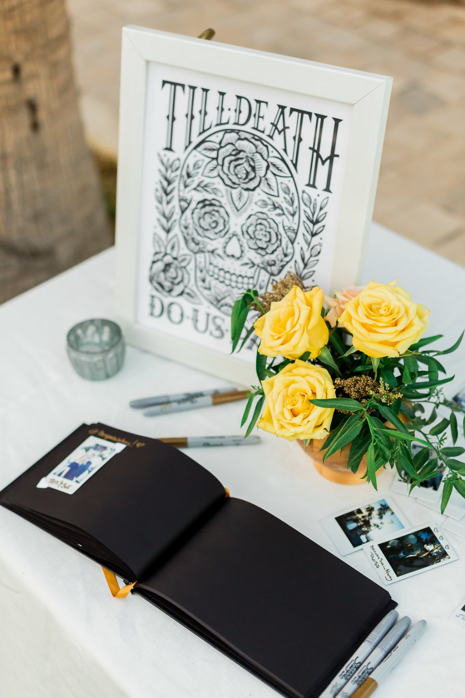 till death do us part wedding guest book table
