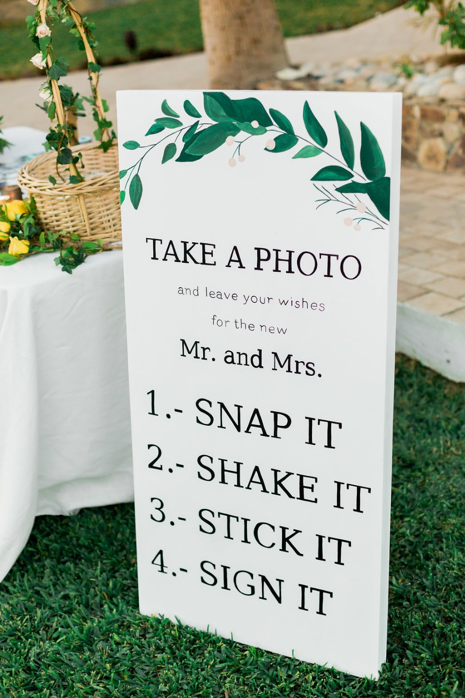 take a photo wedding sign