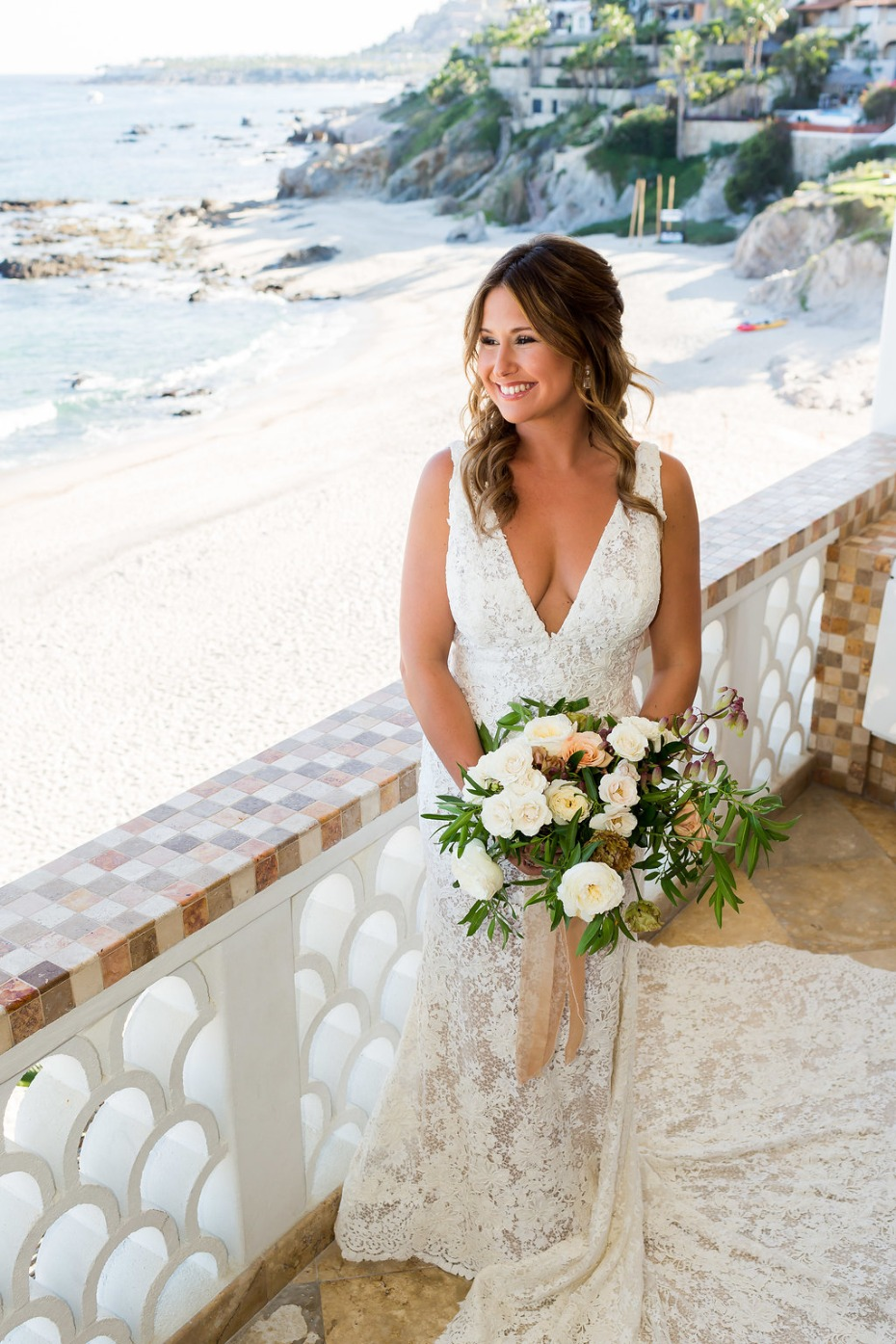 happy bride in Cabo