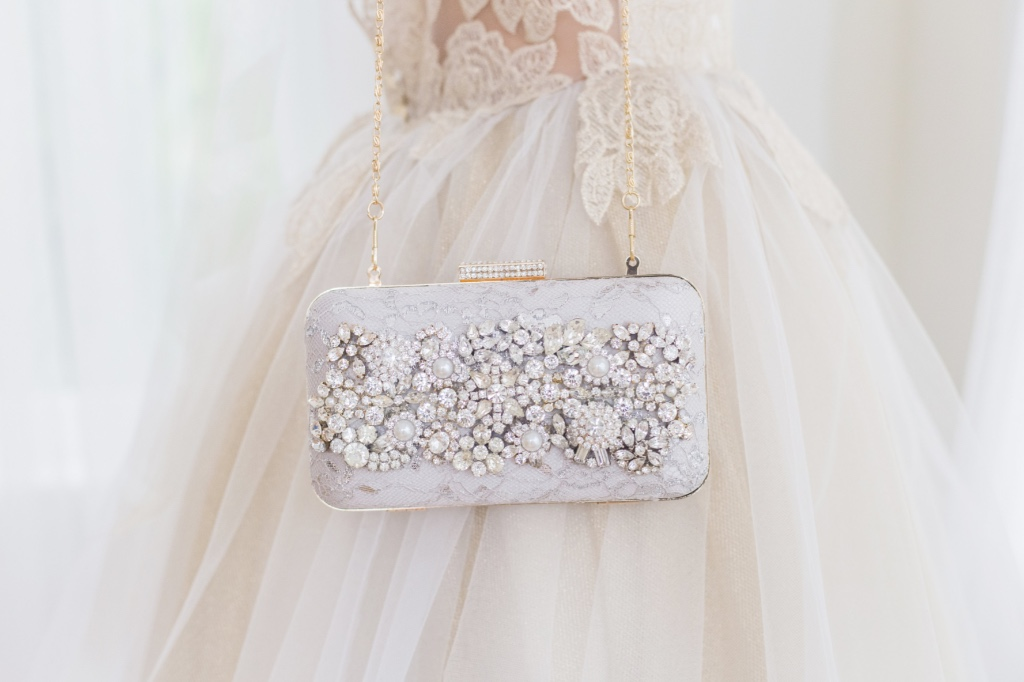 The perfect bridal clutch for the bride who likes to sparkle.