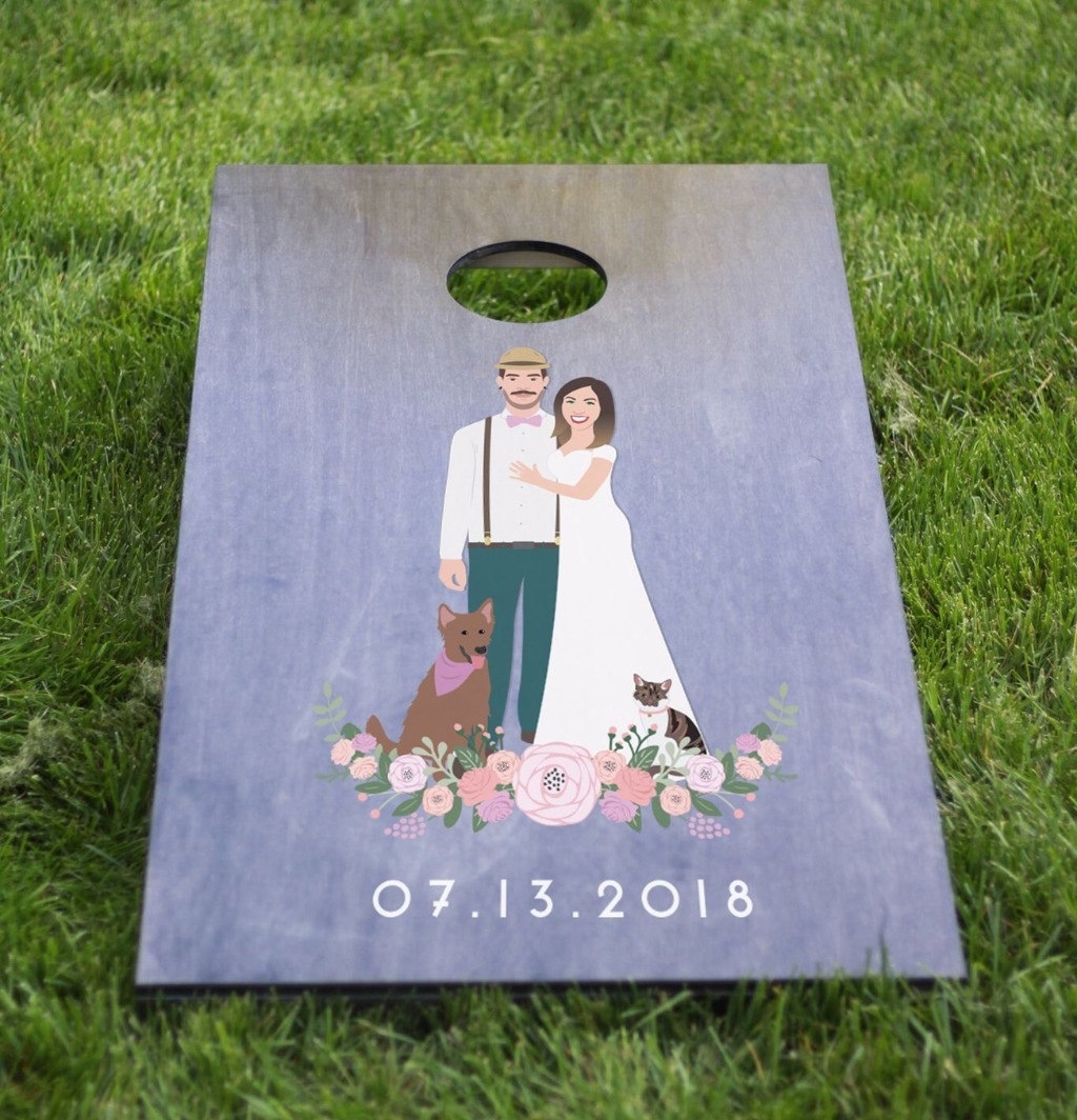 There's still time to grab an amazing custom Couple Portrait Cornhole Board to spice up your summer wedding!! This listing comes with