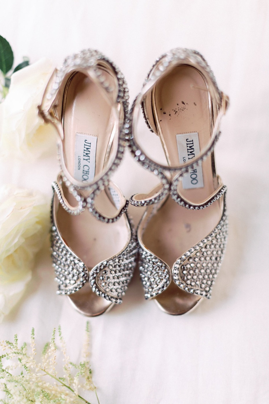 Sparkly Jimmy Choo heels for the bride