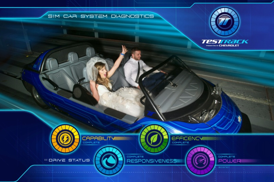 Private test track ride for the bride and groom