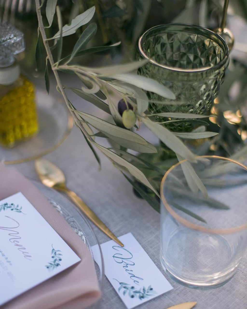 ▪Details make the difference. Olive branch, gold cutlery and hand painted stationery in Sounion Temple of Poseidon, Greece▪