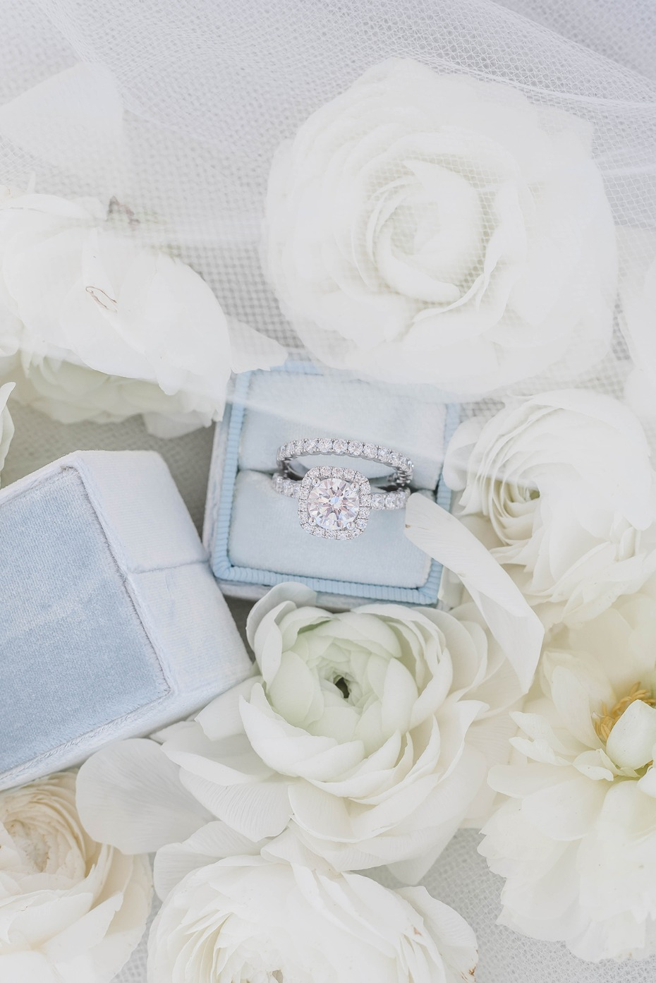 blue Mrs Box wedding ring box
