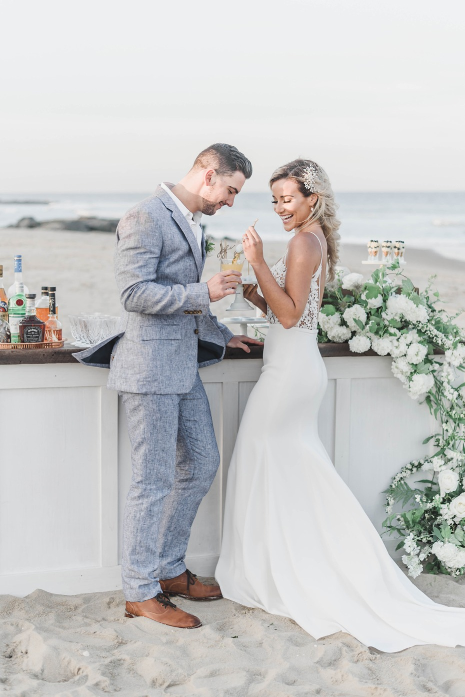 sweet beach wedding couple
