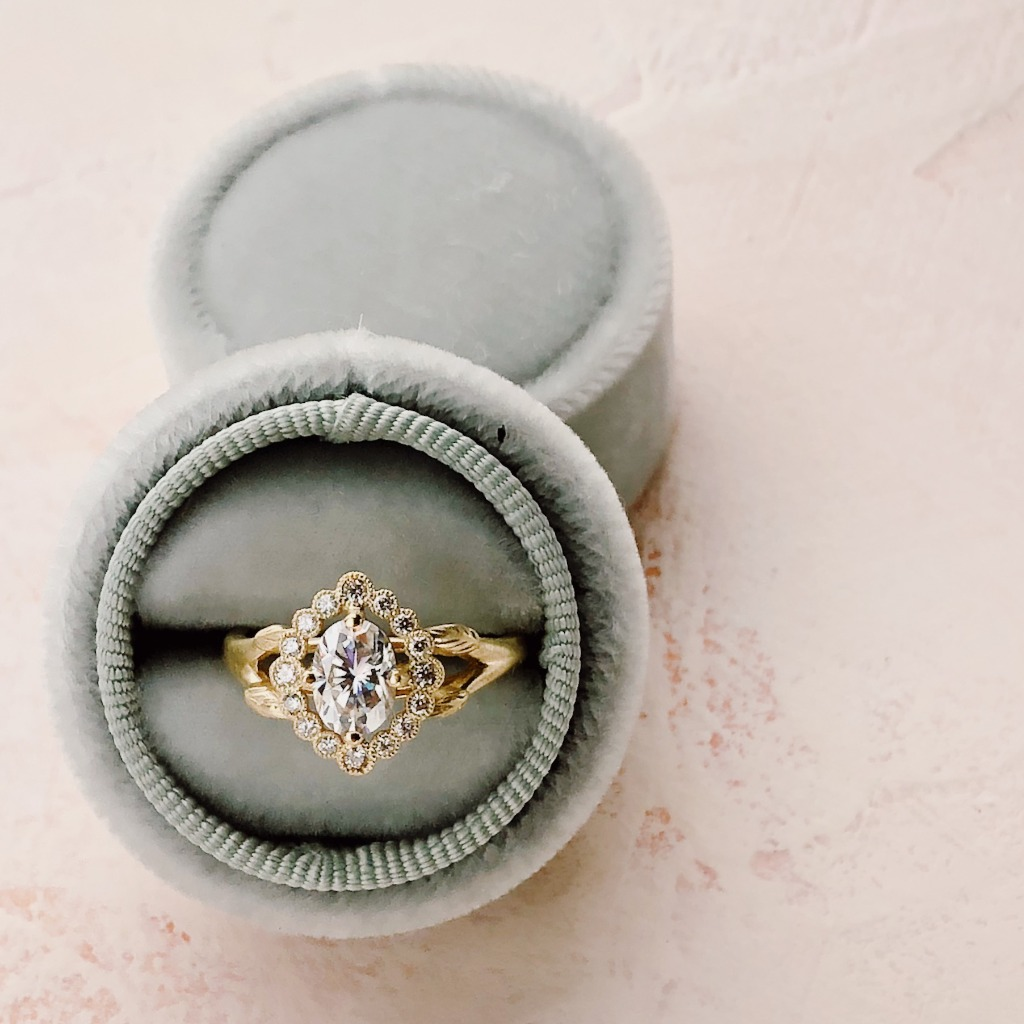 Our Vintage Inspired Dahlilah Halo Ring in 18k gold with an amazing 1ct. oval diamond. So dreamy.