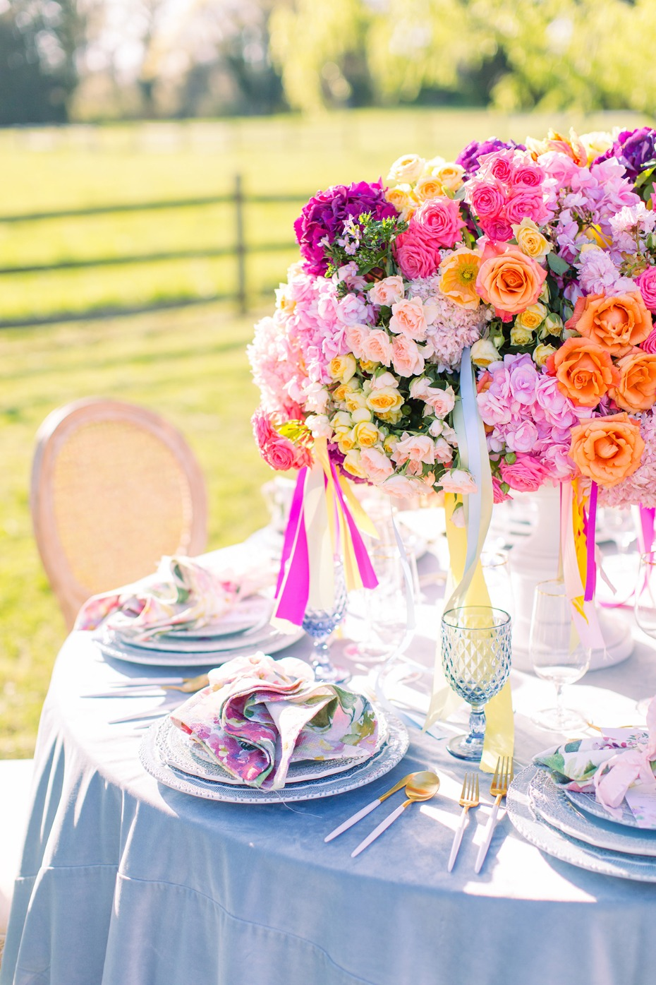 spring time wedding table decor