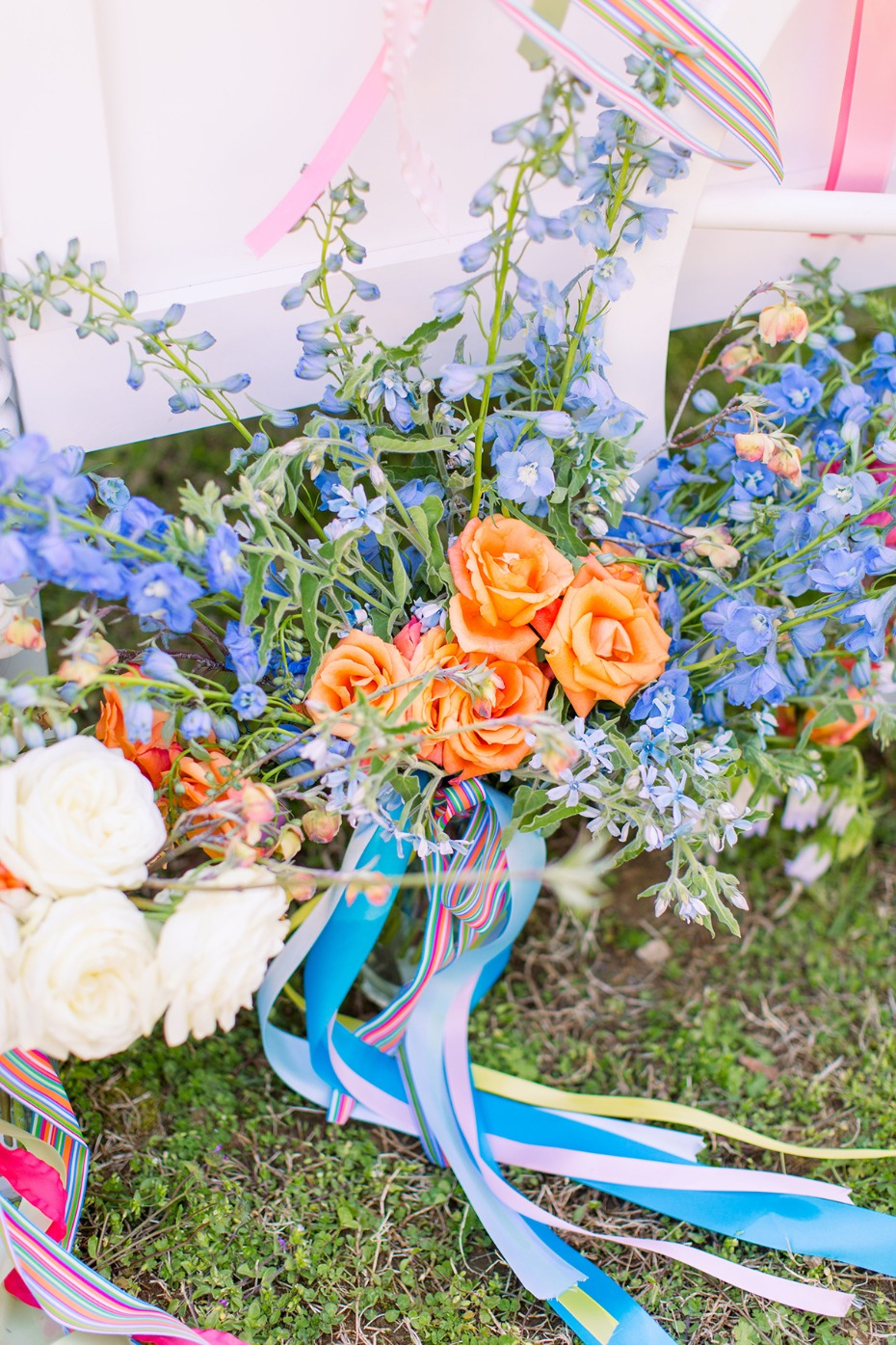 blue and orange wedding bouquet