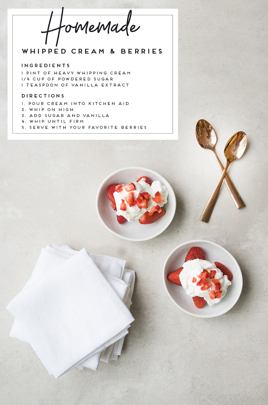 how to make homemade whipped cream and berries