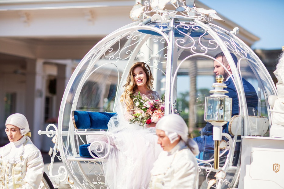 Ride in Cinderella's coach for your wedding at WDW
