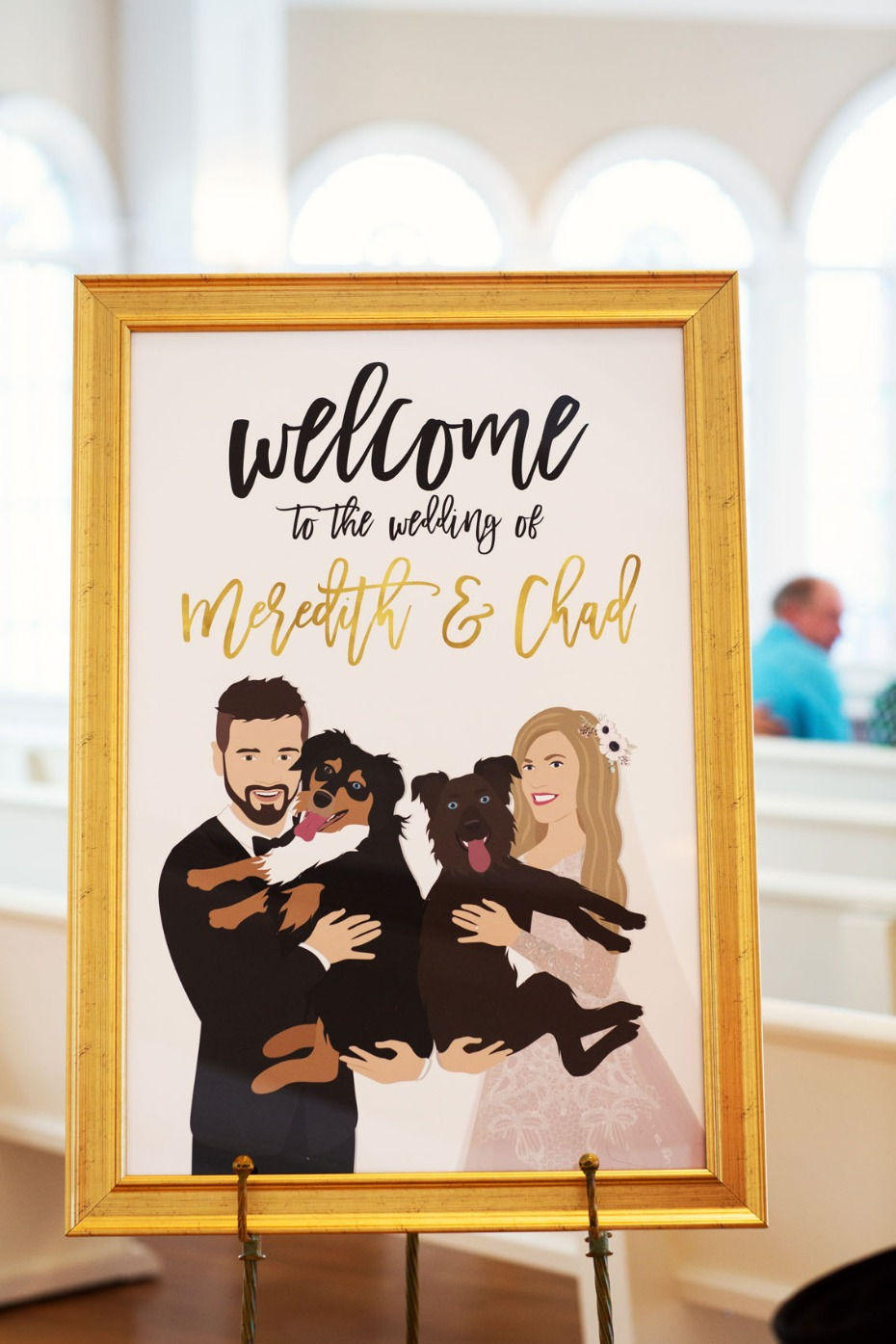 Custom wedding sign with pets