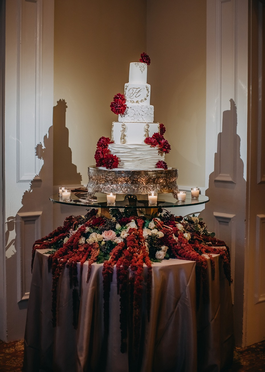 white gold and burgundy wedding cake