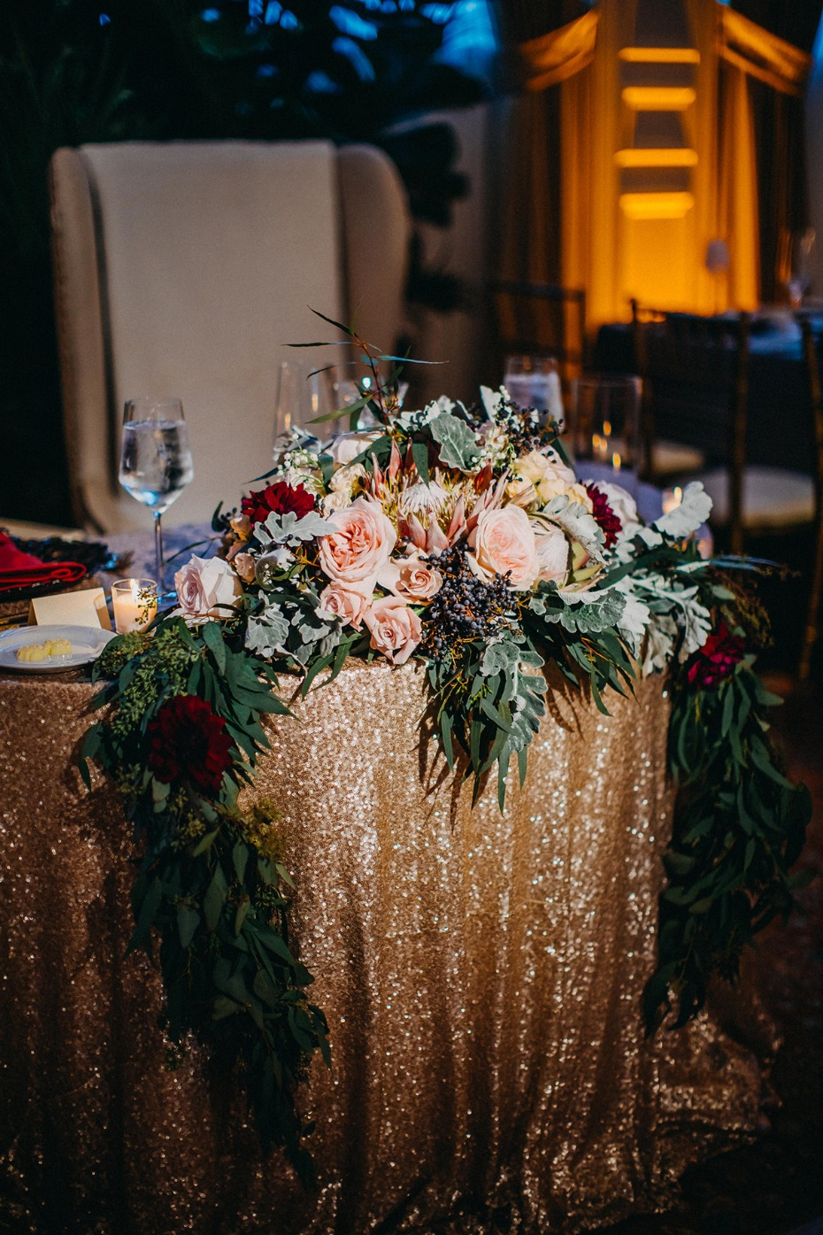 floral decor for the sweetheart table
