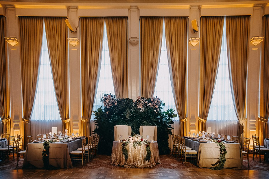 dramatic fall ballroom wedding reception
