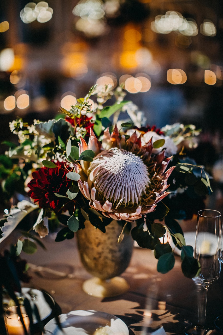protea and assorted floral decor
