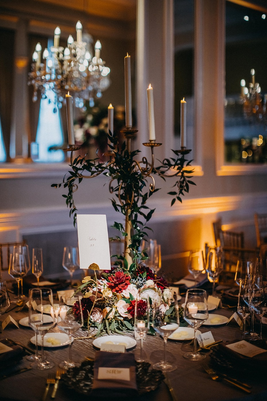 table decor for your dramatic fall wedding