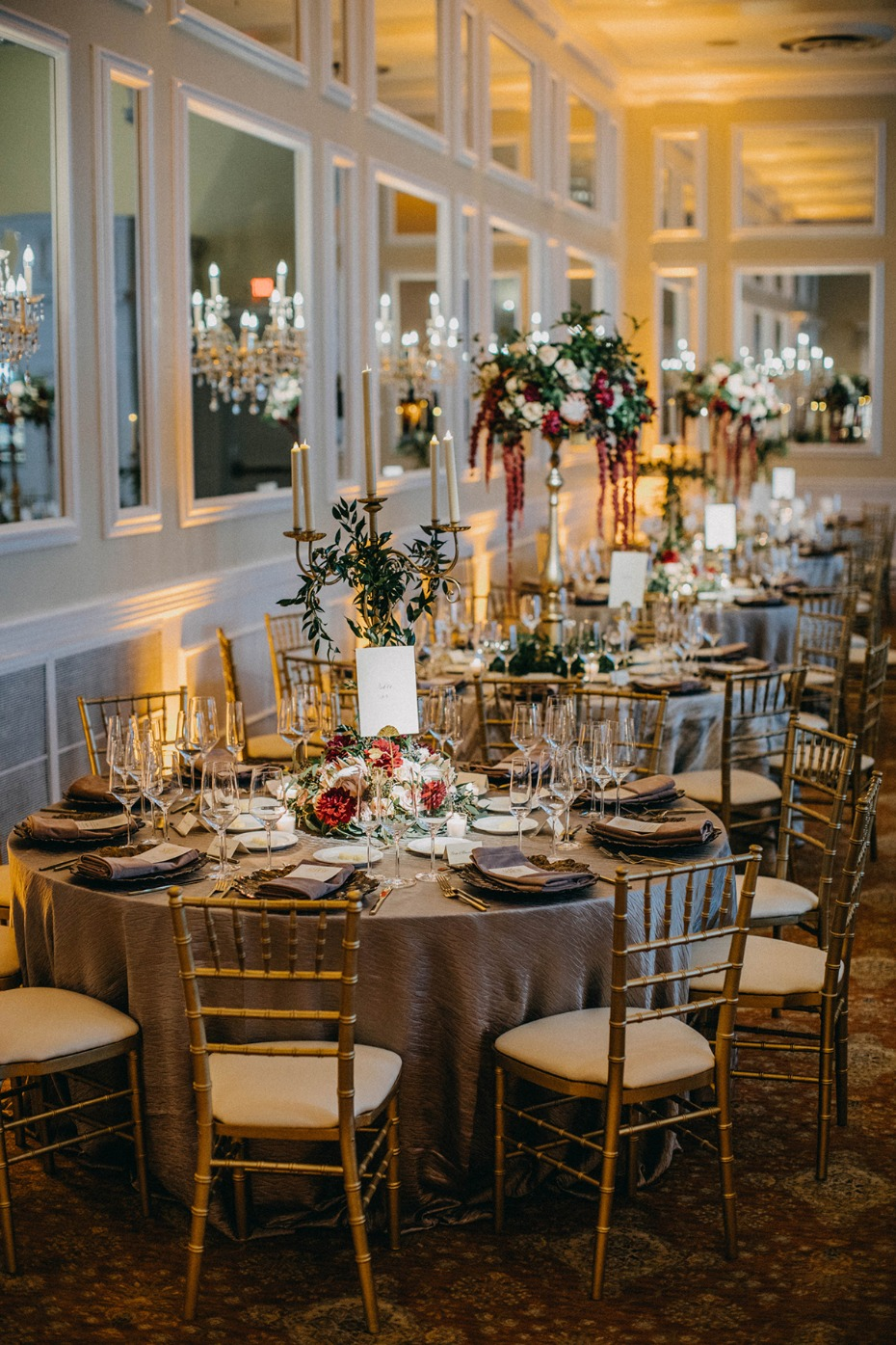 gold and burgundy themed ballroom wedding ideas