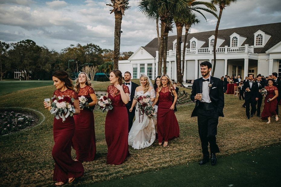 burgundy and classic black tie wedding party