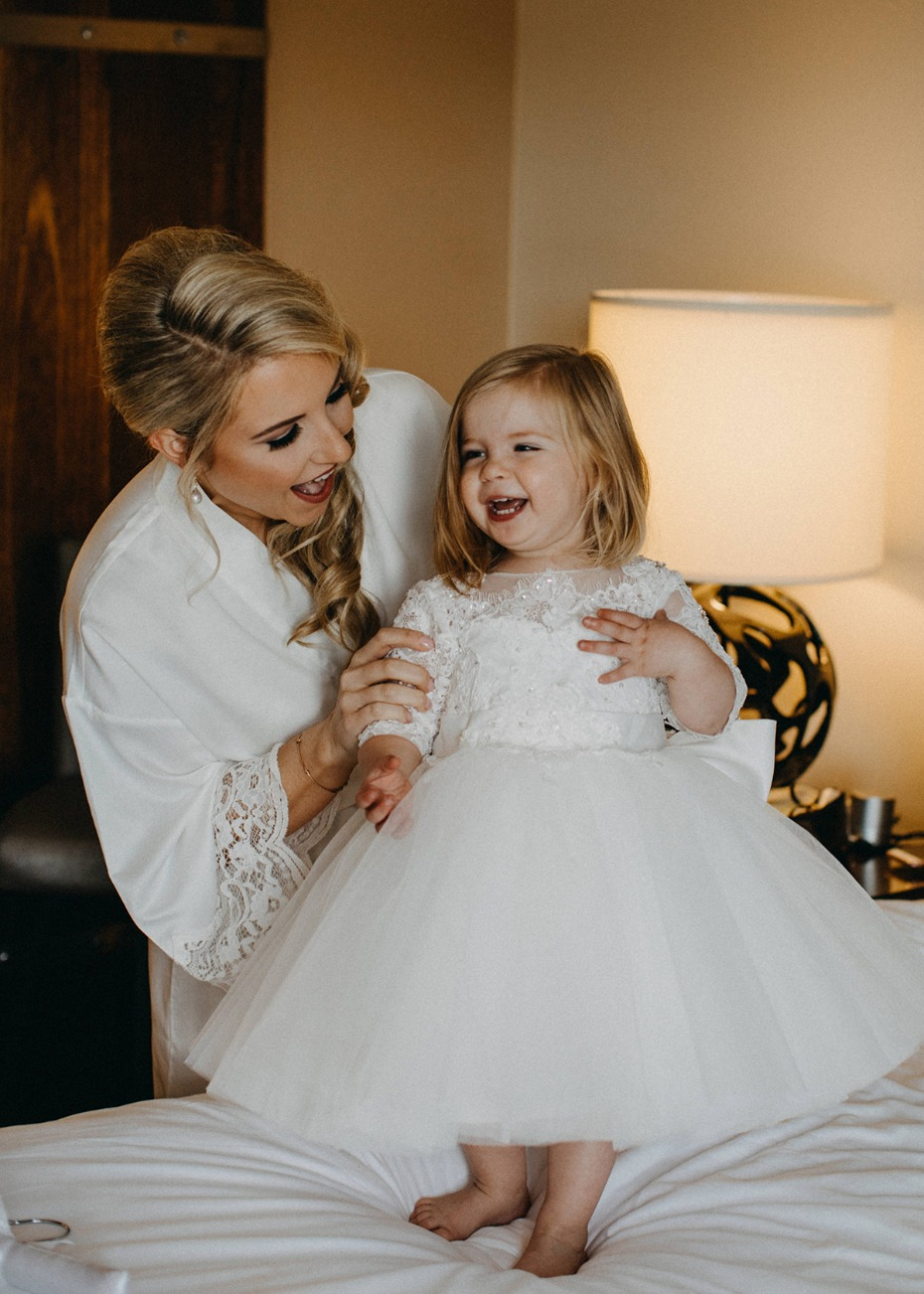 sweet flower girl in white tutu
