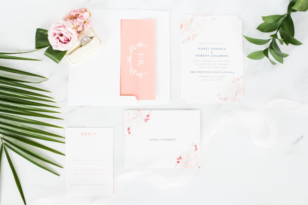 Tropical summer vibes are perfect for wedding invitations and day of detail shots!