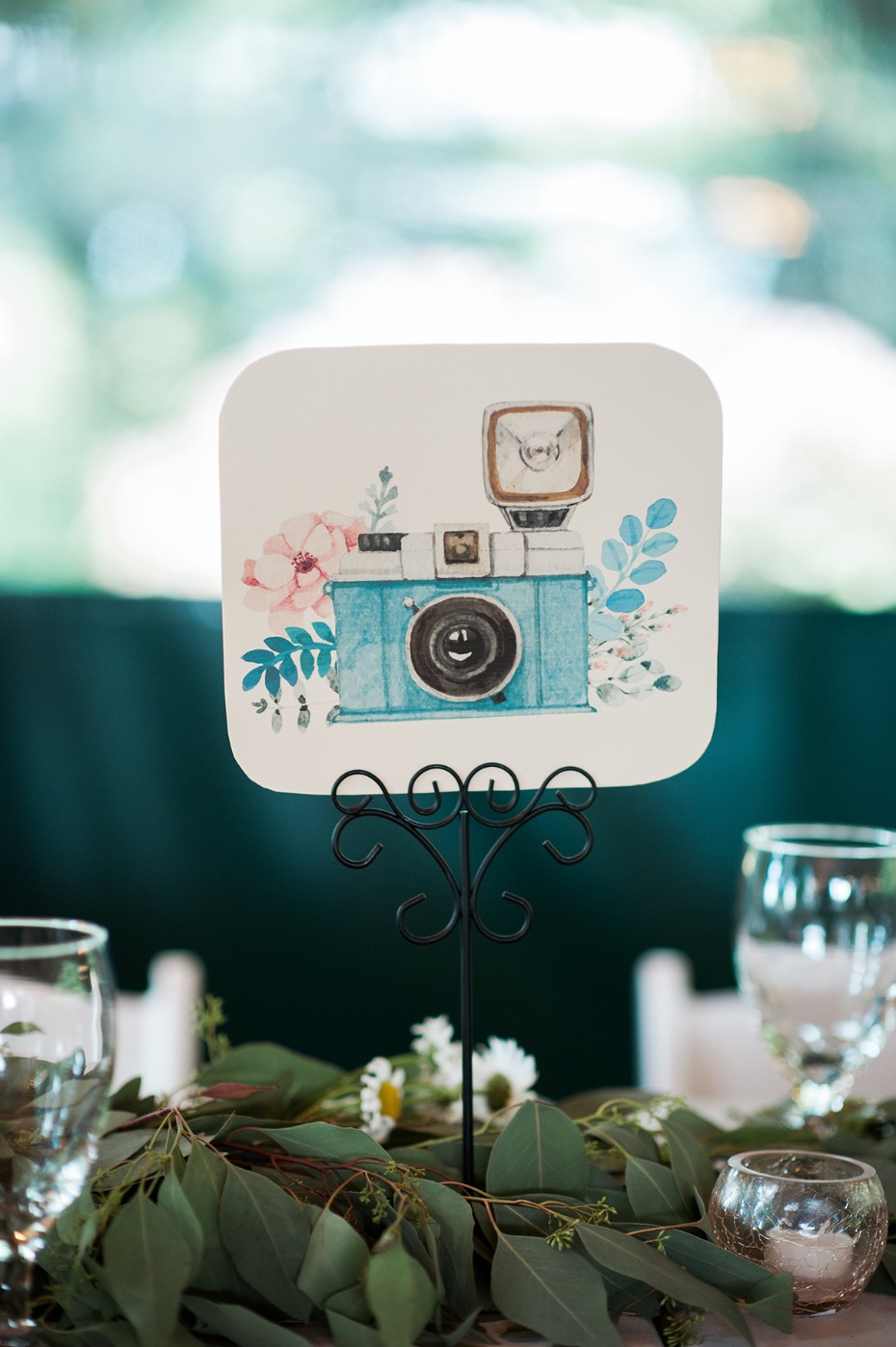 watercolor photo table card