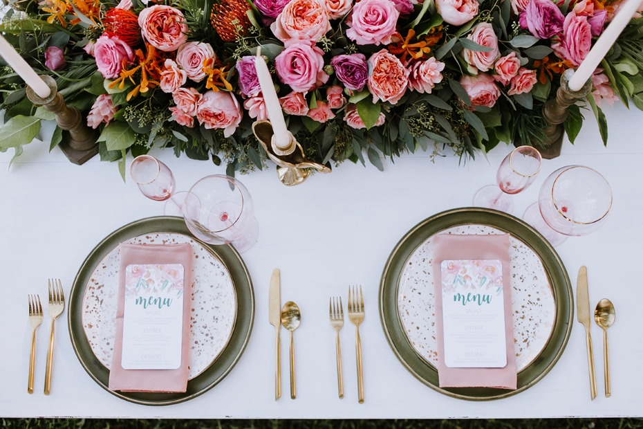 dusty pink and sage place settings