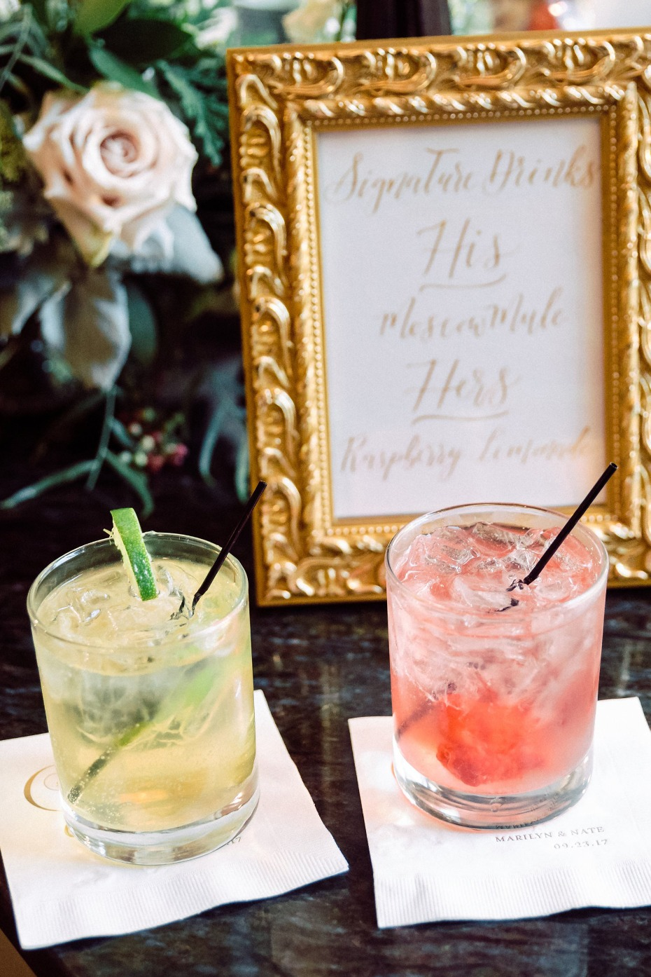 Custom cocktails for the bride and groom