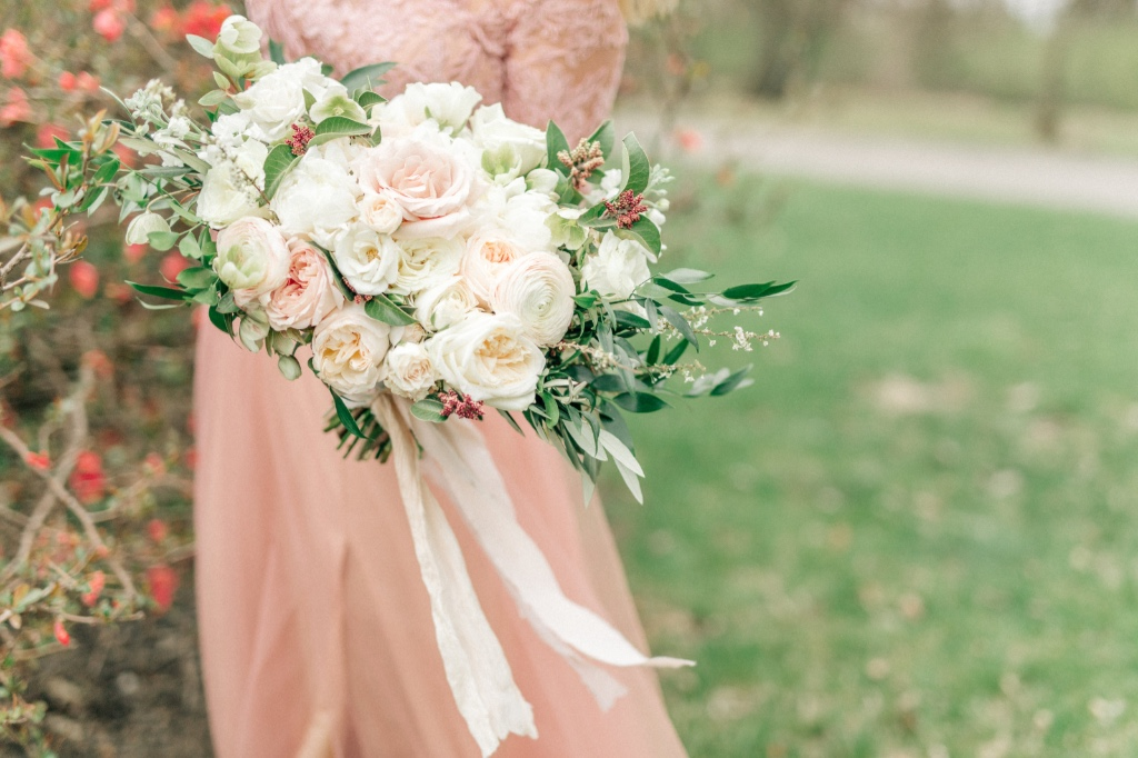 Soft and romantic garden bouquet from Wild Hill flowers. Captured at the Longview Mansion by You Are More Photo
