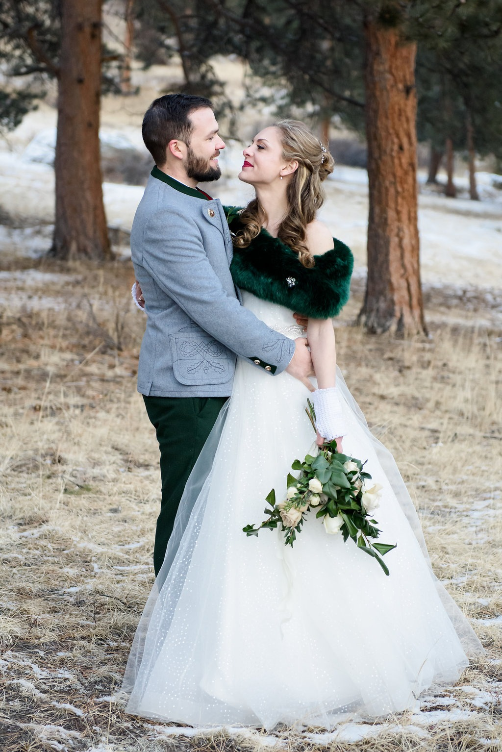 Real Lea-Ann Belter Brides | Kristina + Jeff's Evergreen Winter Wonderland Wedding in Colorado | | dress: Astrid + Mercedes Minuit