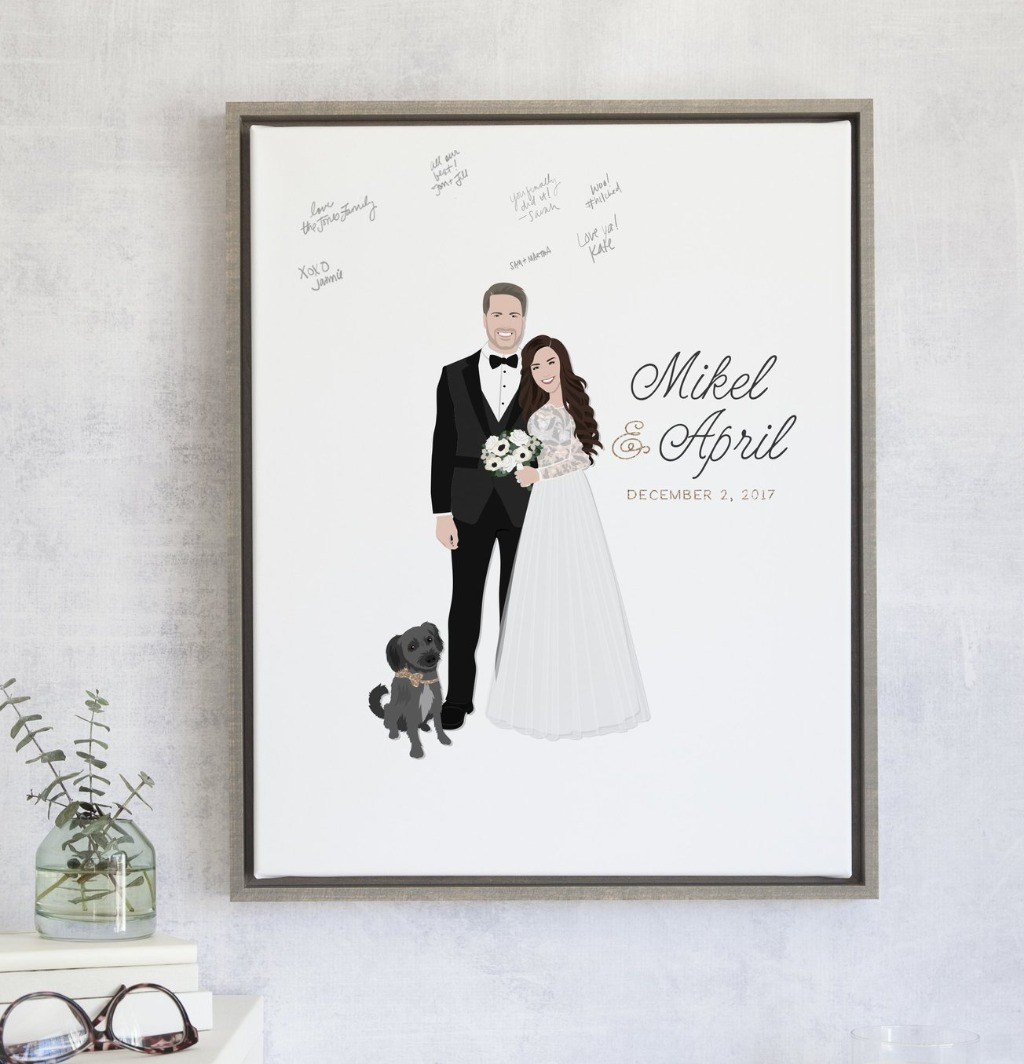 The Penny is our most popular design and for good reason!! It features your couple portrait with your names and date with the font