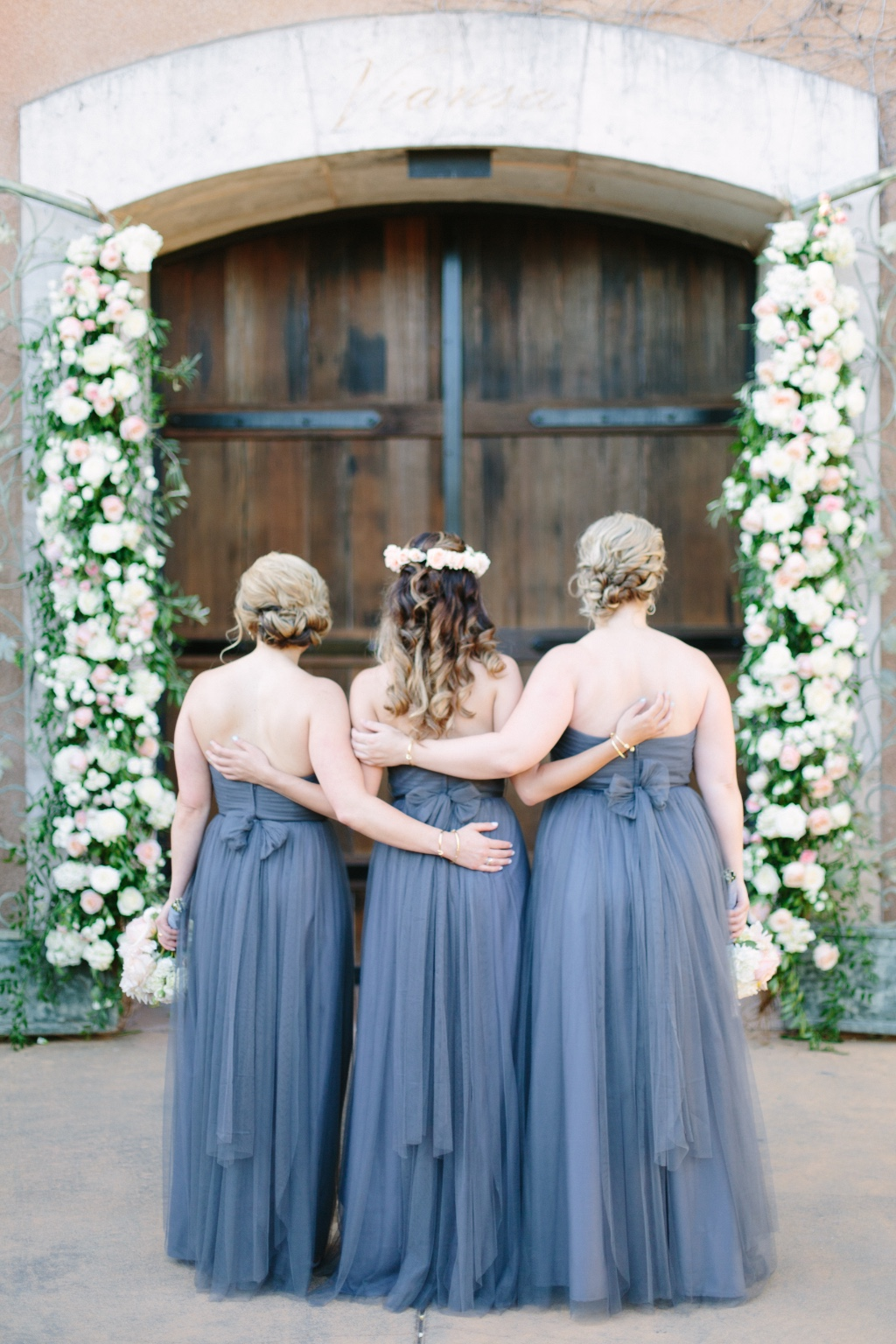 always have your girls backs 👯 our convertible annabelle #jycannabelle in hydrangea | photo by @meganhollyclouse #jennyyoobridesmaids