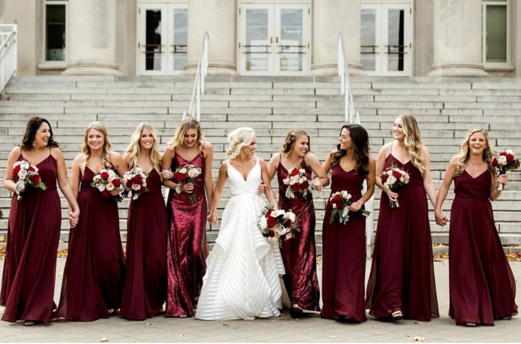 head over heels for burgundy 😍 #realbridesmaids in our inesse #jycinesse and jules #jycjules dresses  #jennyyoobridesmaids