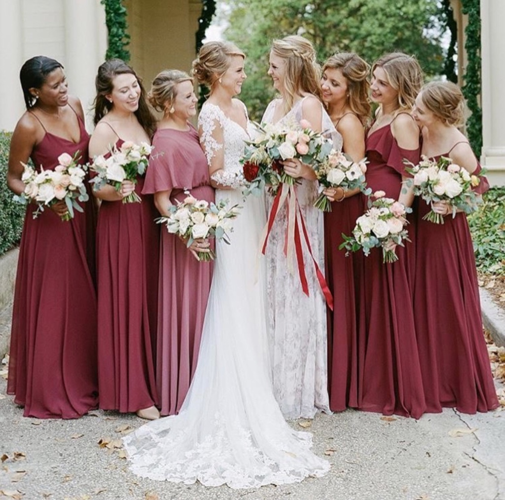 burgundy #bridalparty 🌹 various luxe chiffon styles - tap for details! #jennyyoobridesmaids #jennyyoo