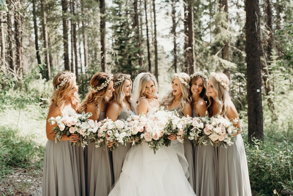 boho chic #bridetribe • how stunning do these ladies look in our inesse #jycinesse dress in earl grey?! #jennyyoobridesmaids