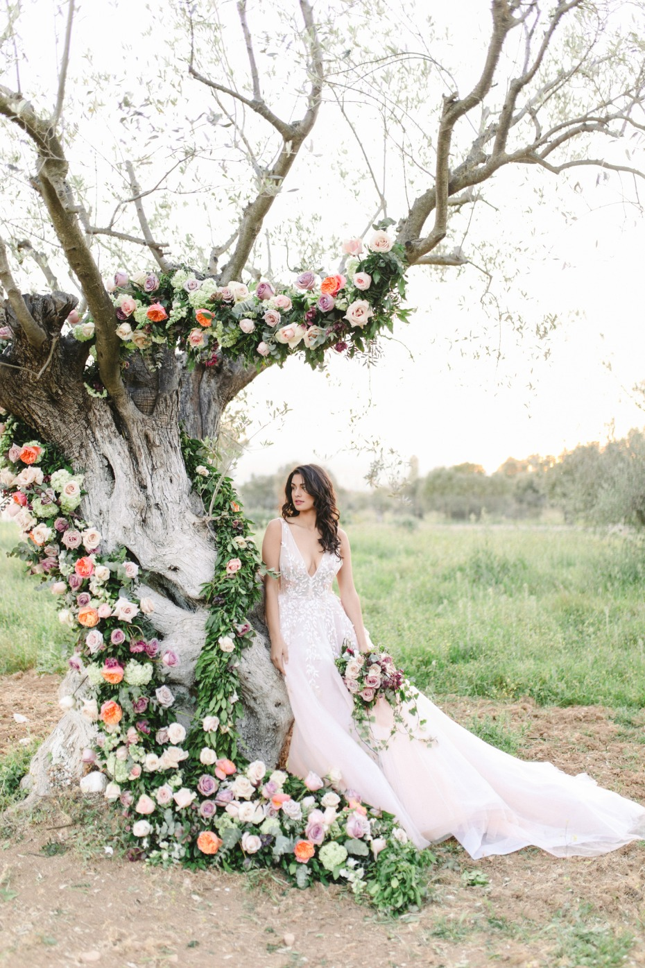 Nathalie Karam blush wedding dress