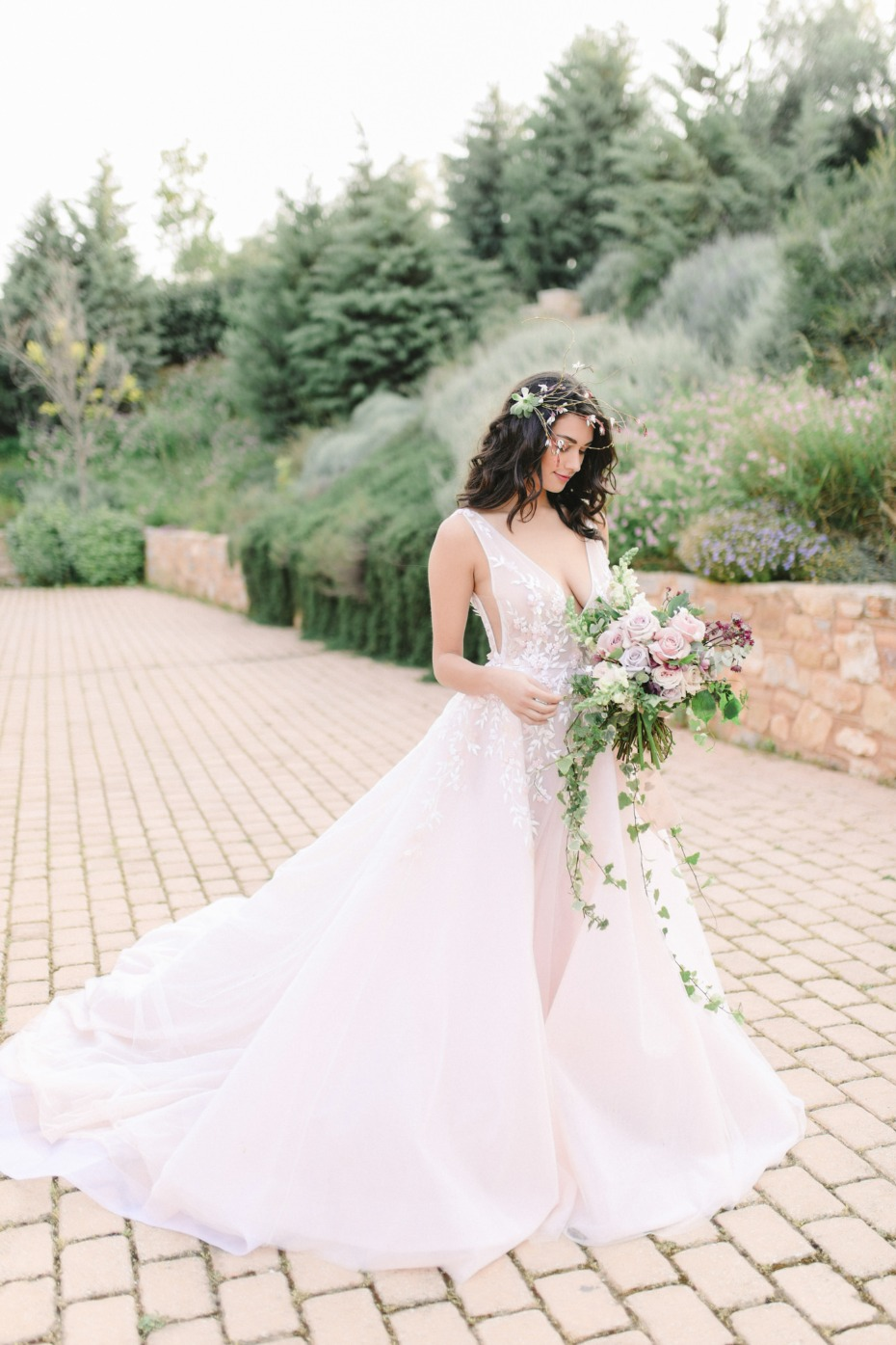 Blush wedding dress by Nathalie Karam