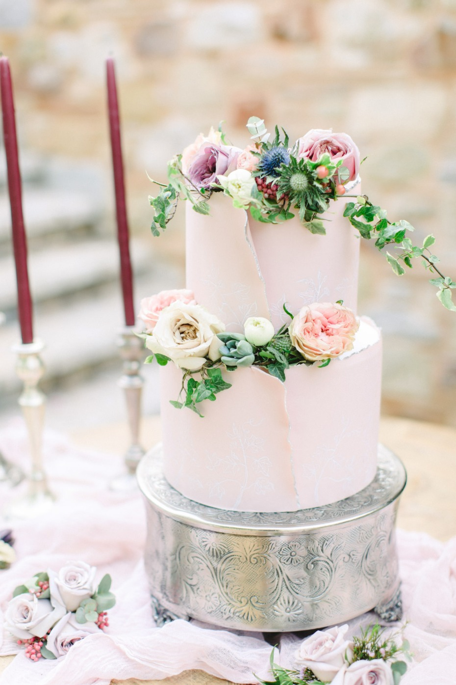 Modern blush wedding cake