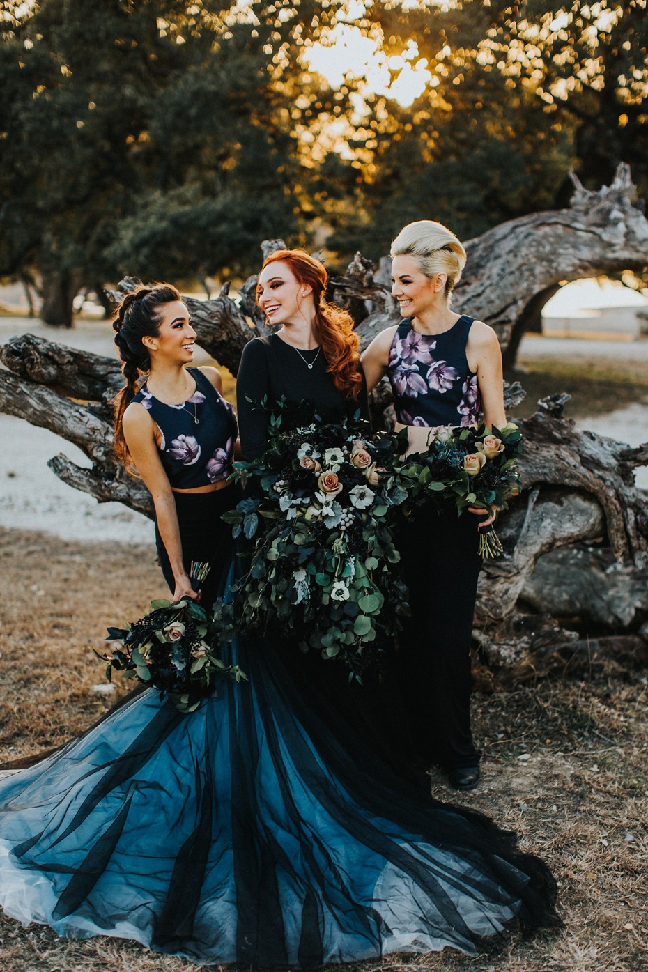 dramatic and dark themed wedding party