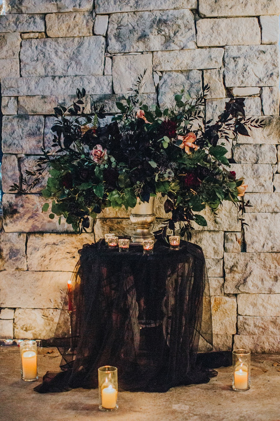 overgrown wedding flower arrangement