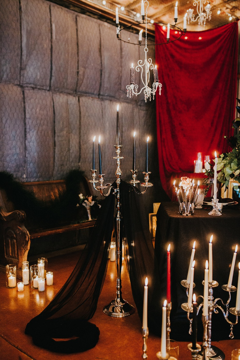dramatic candle lit wedding